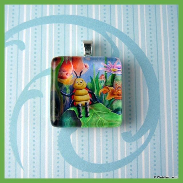 Lilly the Ladybug glass tile pendant