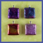 Glittery tile pendants