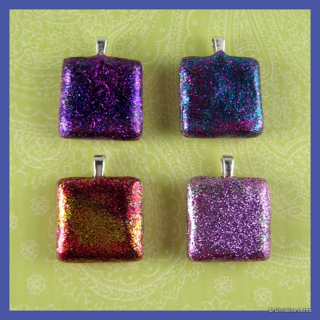 Reversible glass tile pendants lilly bug studiolilly bug studio glittery tile pendants aloadofball Image collections