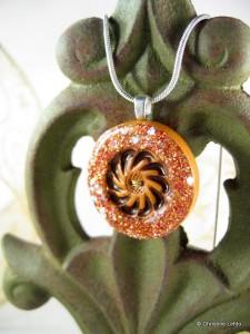 handmade glitter button pendant