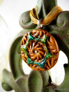 green handmade button pendant