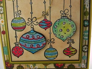 Close-up of handmade ornament card