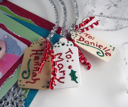 The handmade gift tags for the Christmas cards