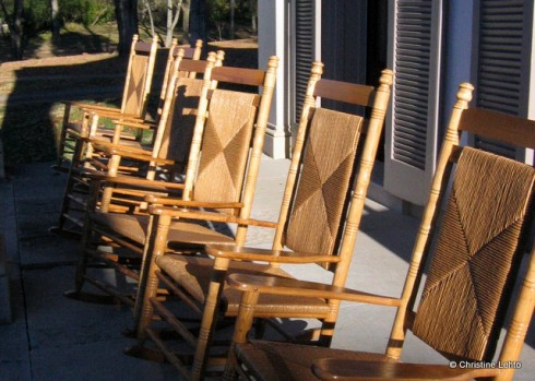 The rocking chairs on the porch