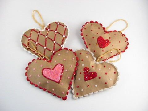 Paper bag heart decorations
