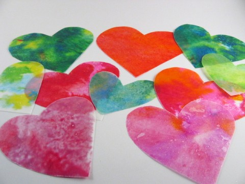 waxed paper and crayon heart decorations