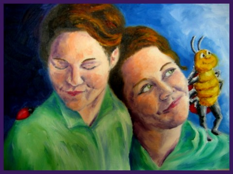 Christine & Lilly oil painting