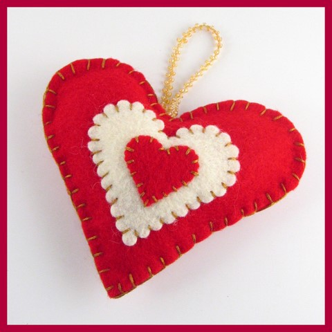 Red & Cream felt heart