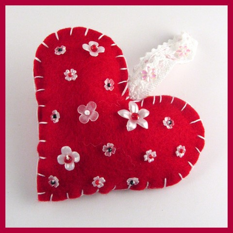 beaded flower felt heart