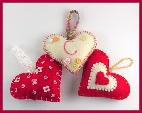 Three Felt Hearts