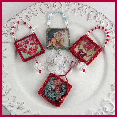 Set of 4 Valentine's Ornaments