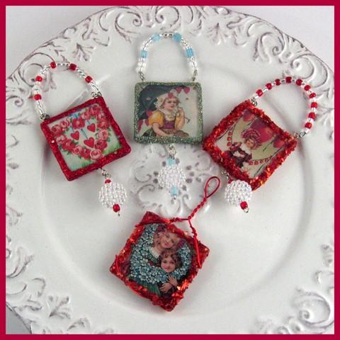 Set of 4 Valentine's Ornaments