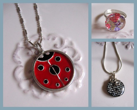 Ladybug pendant, button pendant, and button ring