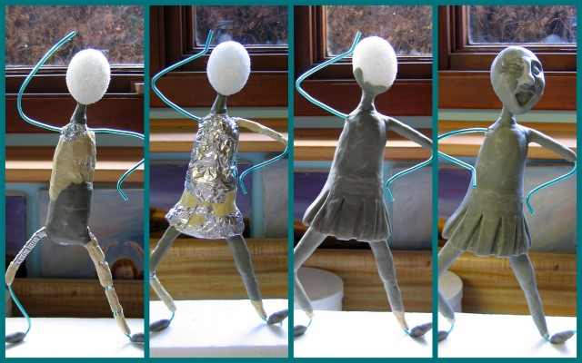 Work-in-progress photos of sailor girl sculpture
