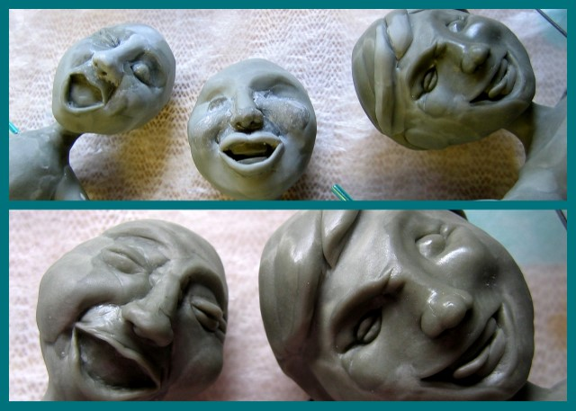 A few of the sculpted faces for the sailboat sculpture