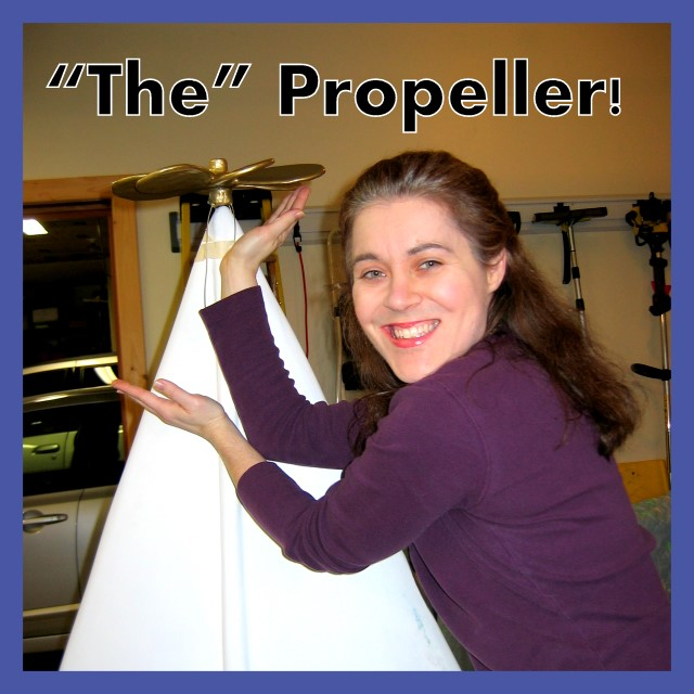 Christine posing with propeller