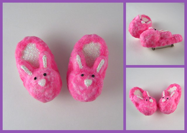 Pink fuzzy bunny slipper pins