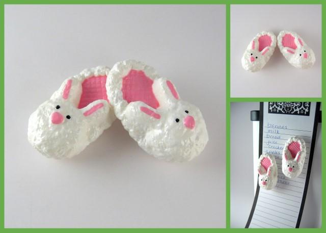 Handmade bunny slipper magnets