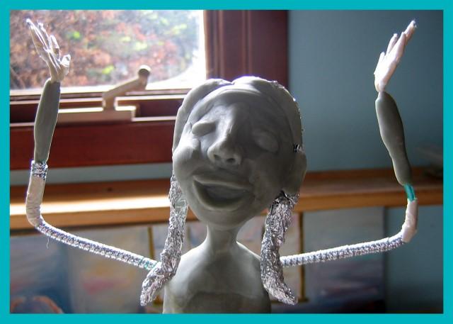 Paint girl sculpture