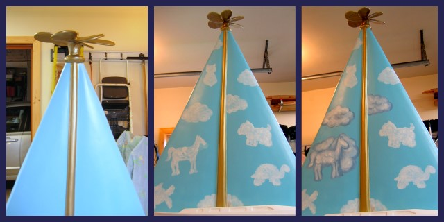 Work-in-progress pics of painting the cloudy sky on the sailboat
