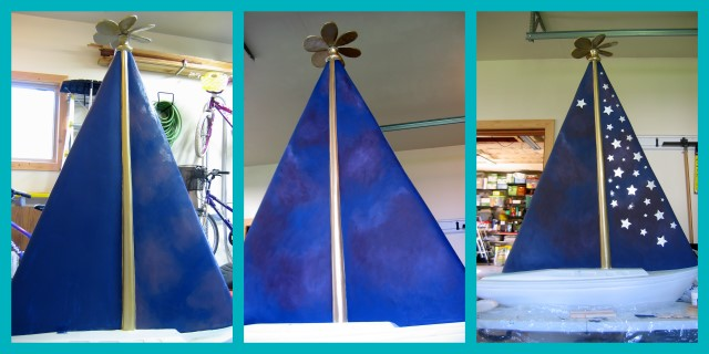 Work-in-progress pics of starry night sky on the sailboat