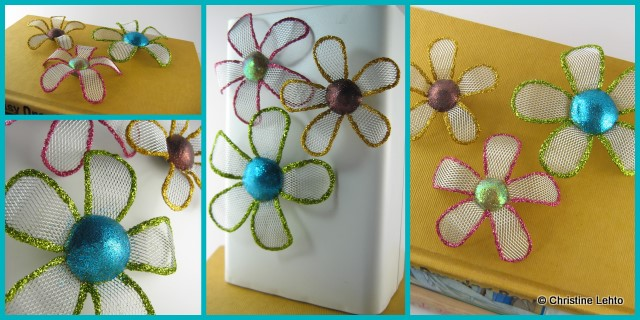 Apoxie, glitter and mesh flower magnets