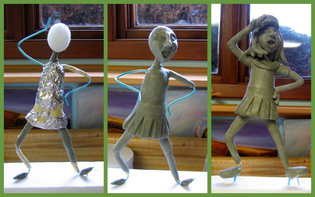 Work-in-progress photos of sailor girl sculpture
