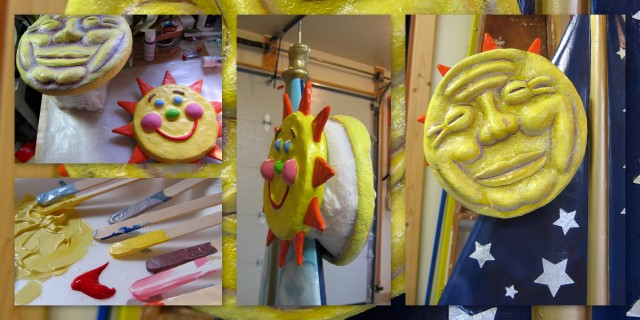 Painting the sun and moon sculptures