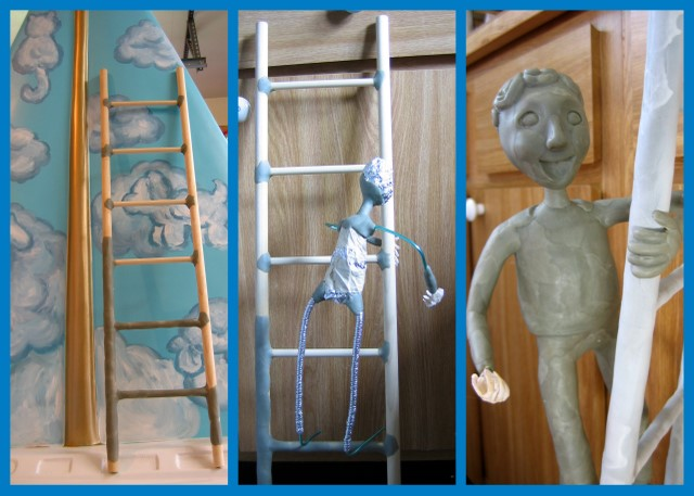 Ladder boy sculpture