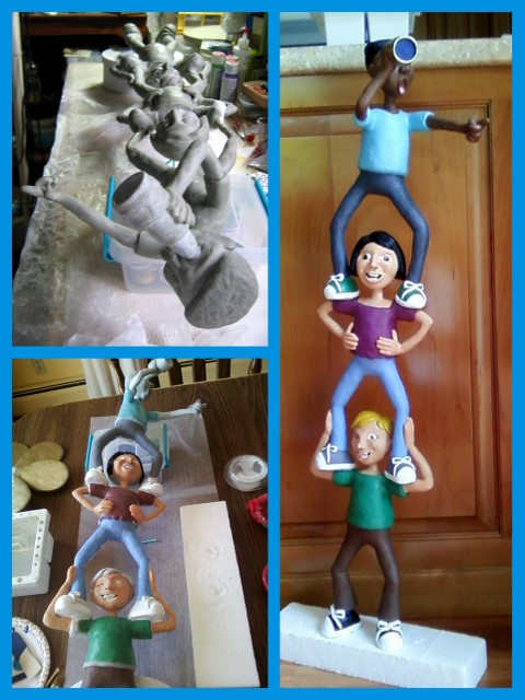 Work-in-progress of stacked up kids sculpture