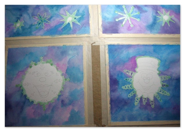 Work-in-progress watercolors of snowflake characters