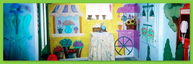 Flower shop and flower cart wall mural