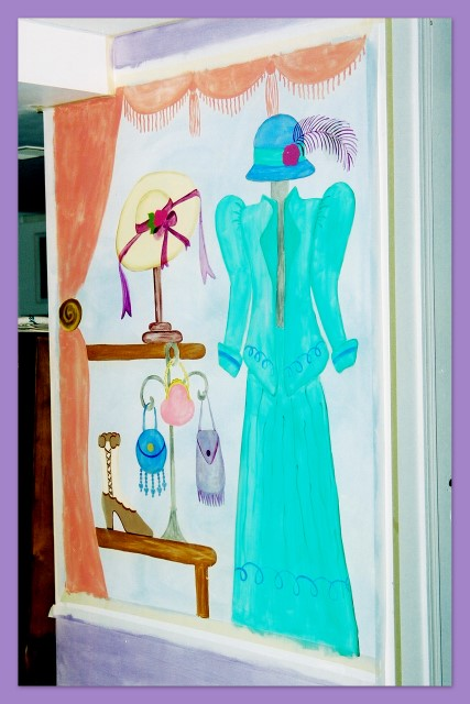 Dress and hat shop wall mural