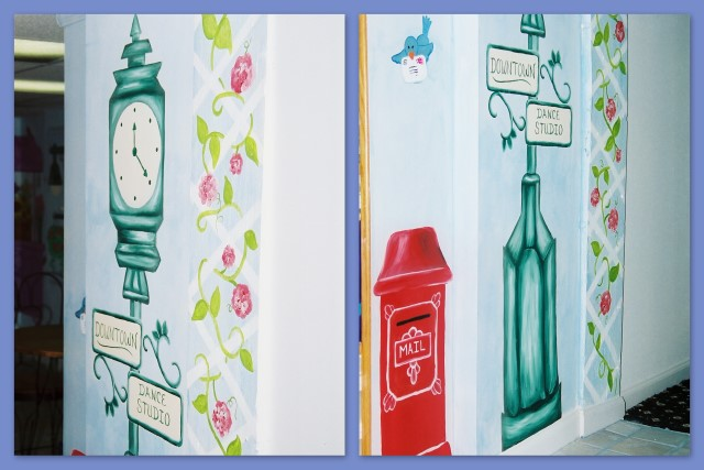Town clock and mailbox wall mural