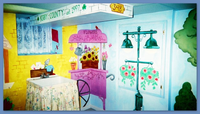 Flower cart and street lamp wall mural