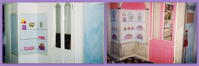 Before and after of candy shop wall mural