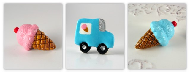 Ice cream cone and ice cream truck handmade magnets