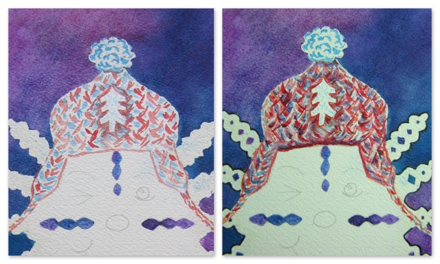 Snowflake character with knitted hat