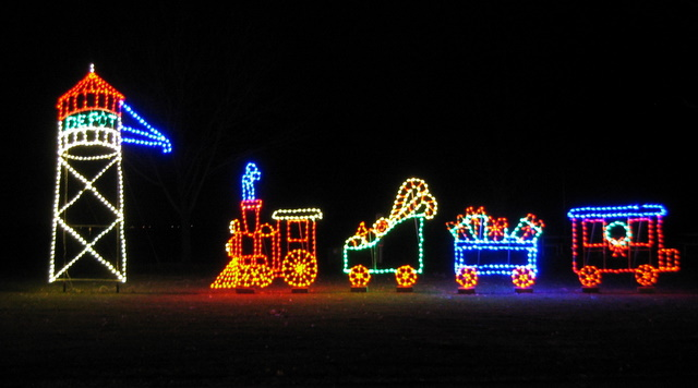 train Christmas light display
