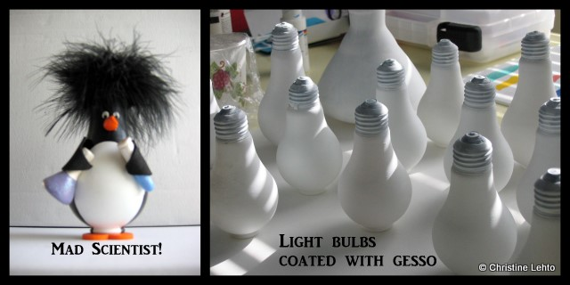 Mad Scientist Penguin sculpture and gesso covered light bulbs