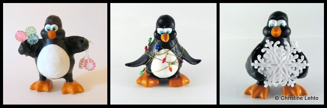 Christmas Playful Penguin scultpures