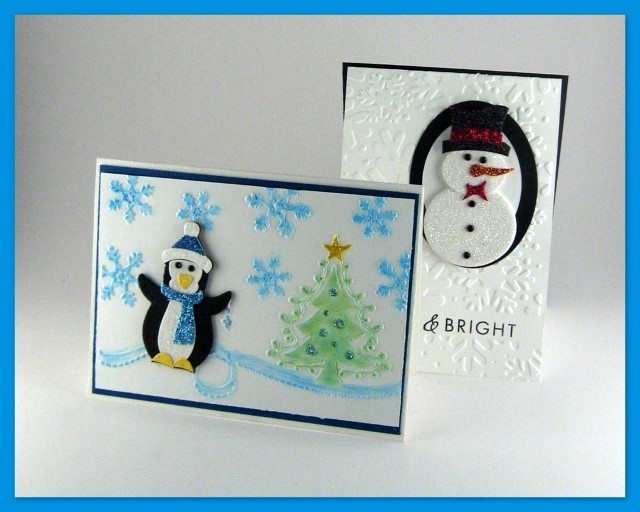 Handmade penguin and snowman Christmas cards