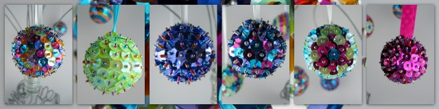 Sparkle ornaments that Christine made