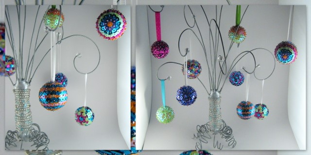 Sequined sparkle ornaments
