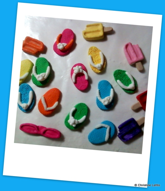Work-in-progress of flip flop and ice pop magnets