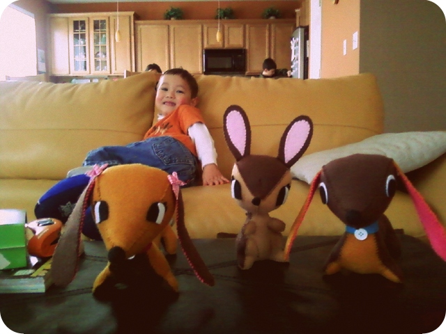 Nephew with a few felt animals