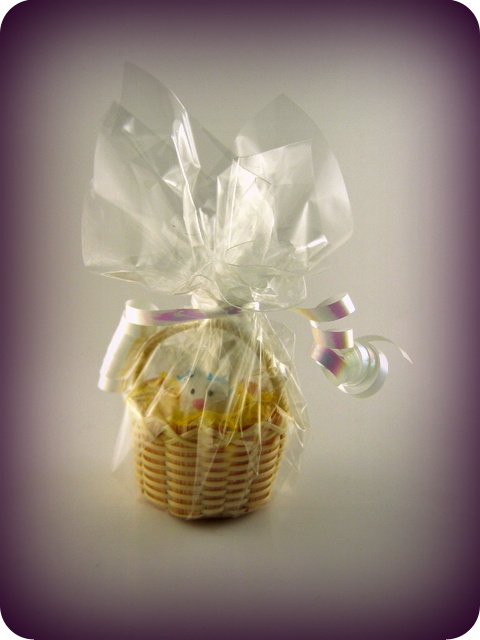 Mini basket with bunny wrapped up