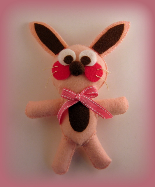 Hand-stitched pink felt bunny