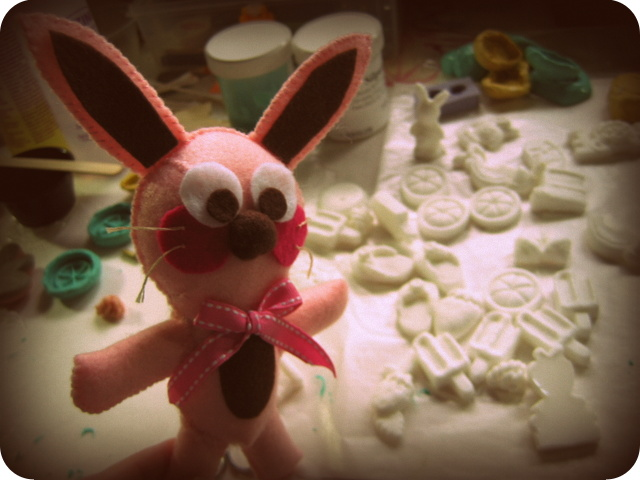 Ralphie the bunny next to newly cast resin pieces