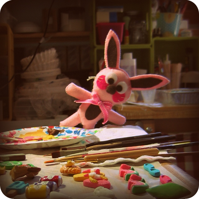 Ralphie the bunny at painting station
